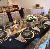 Setting the tables for 23 new years guests.